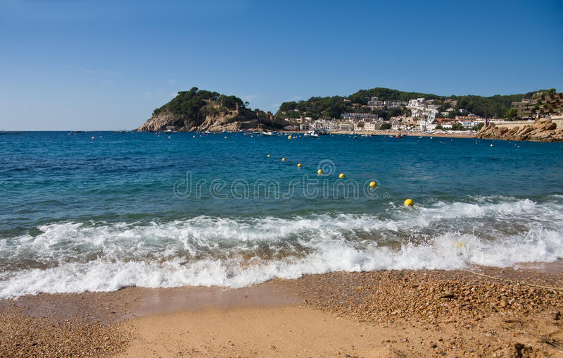 Costa Brava beach in Tossa de Mar, Catalonia, Spain stock photos