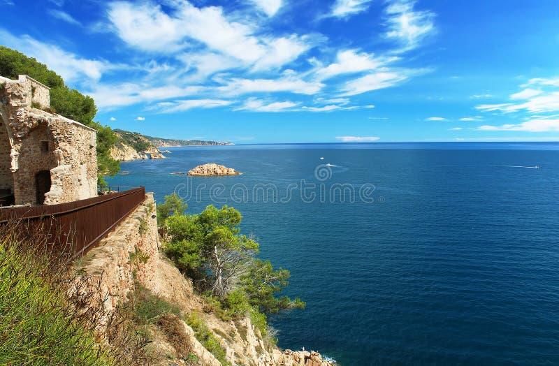 Costa Brava Coast - view from Tossa de Mar castle stock image