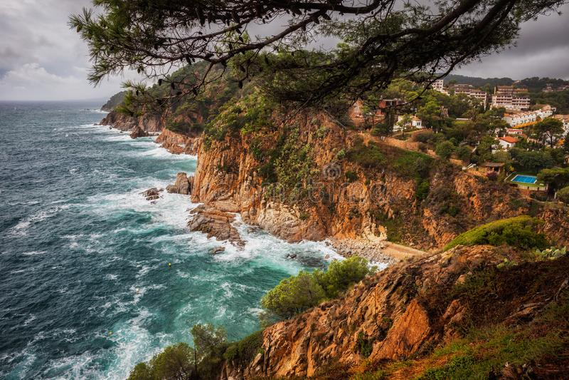 Costa Brava Wild Coast in Tossa de Mar in Spain stock photos