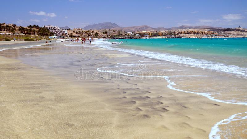 The beach in Costa Calma resort, Fuerteventura, Canary Islands, Spain. Costa Calma is a resort town on the Spanish Canary Island of Fuerteventura, off the coast royalty free stock photo
