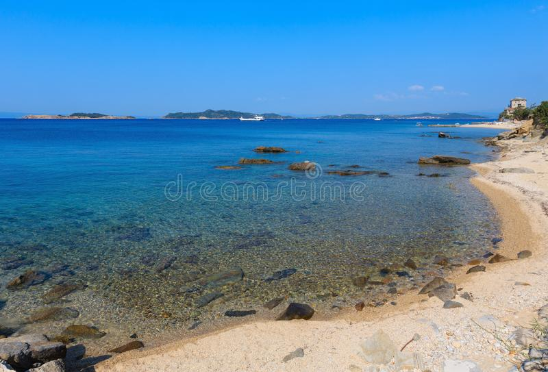 Costa Chalcidice, Grecia de Ouranoupoli fotos de archivo libres de regalías