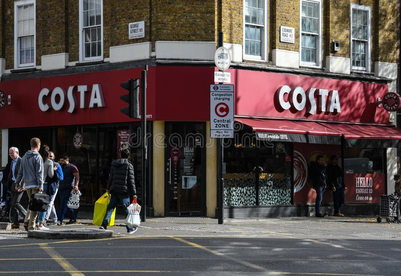 Costa Coffee-Front stockfoto
