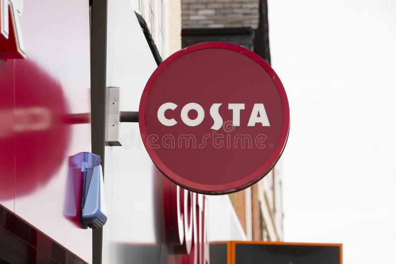 Costa coffee shop sign - Scunthorpe, Lincolnshire, United Kingdom - 23rd January 2018 royalty free stock photo