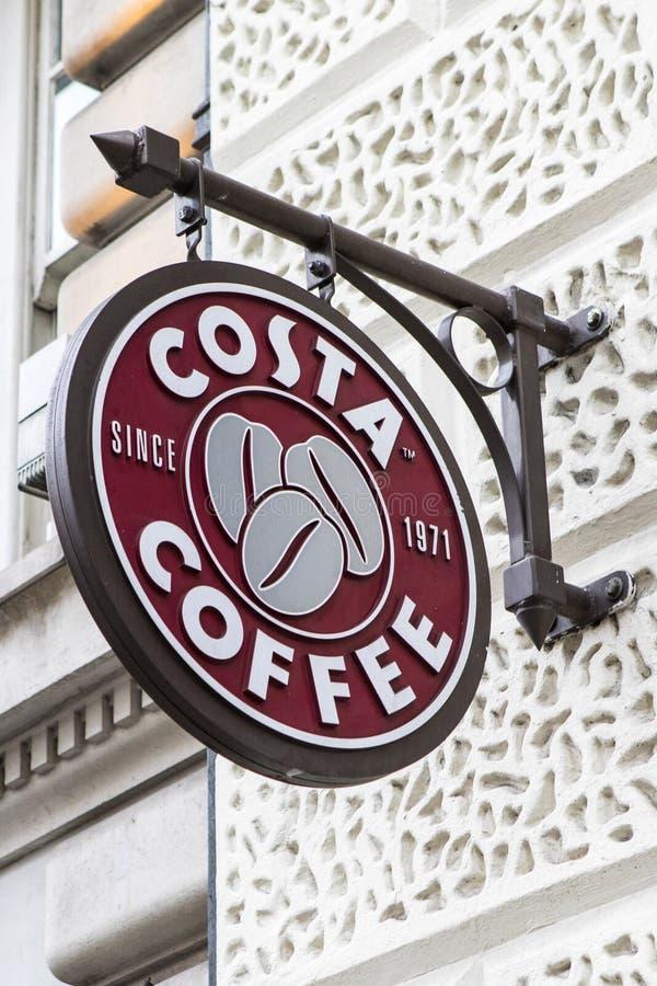 Costa Coffee tecken royaltyfri foto