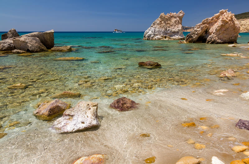 Costa colorida, Milos console, Greece imagem de stock royalty free