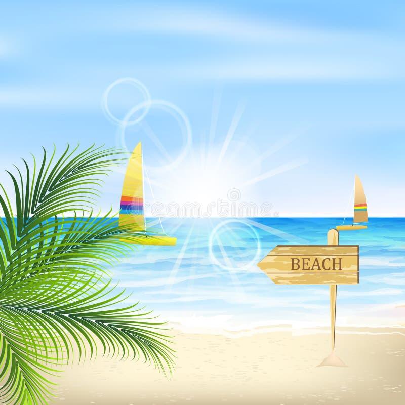 Costa con las hojas de palma, la sol, la playa y los veleros libre illustration