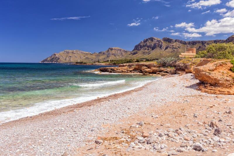 Costa costa, Colonia de Sant Pere, Mallorca foto de archivo libre de regalías