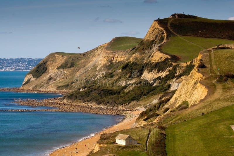 Costa costa jurásica que mira los towarsds Lyme Regis fotografía de archivo