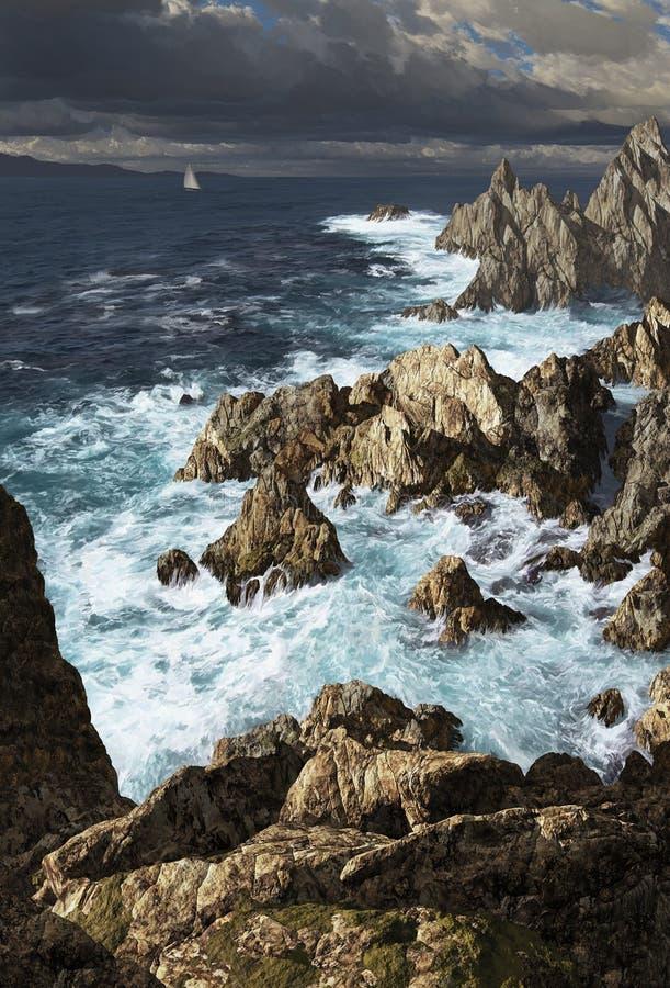 Costa costa rocosa ilustración del vector