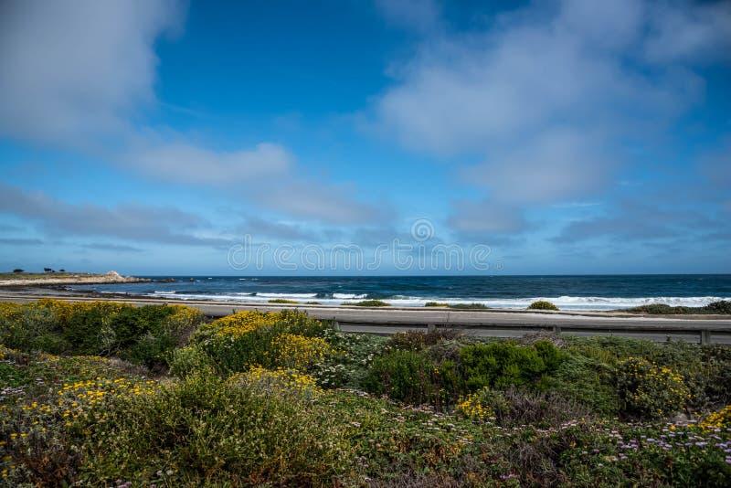 Costa costa rocosa escénica a lo largo de la impulsión histórica de 17 millas imágenes de archivo libres de regalías