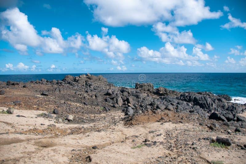 Costa costa salvaje de Aruba en el Caribe fotos de archivo libres de regalías