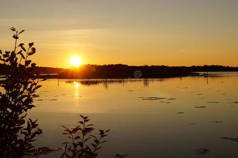 Costa dal crepuscolo Norvegia fotografie stock