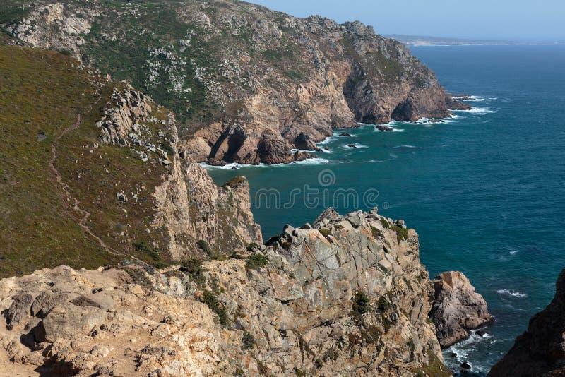 Costa costa de Cabo DA Roca, el punto occidental de Europa, Portugal imagen de archivo libre de regalías