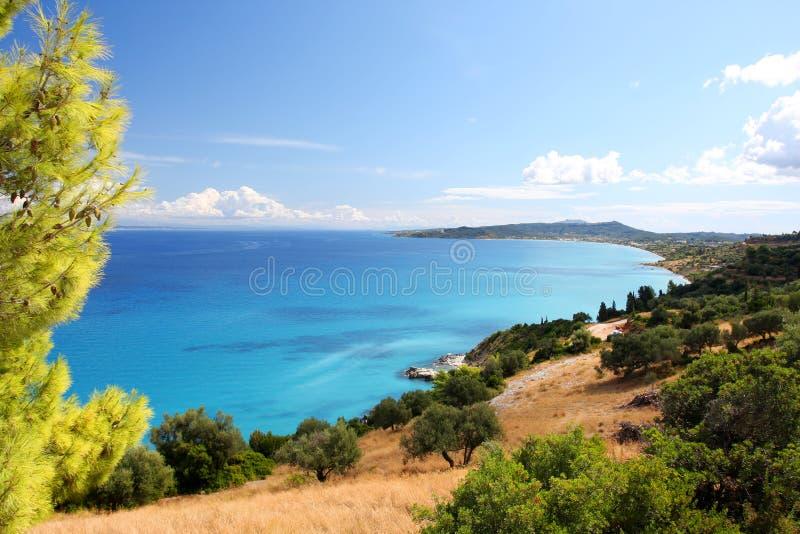 Costa de Grecia en Zakynthos fotografía de archivo
