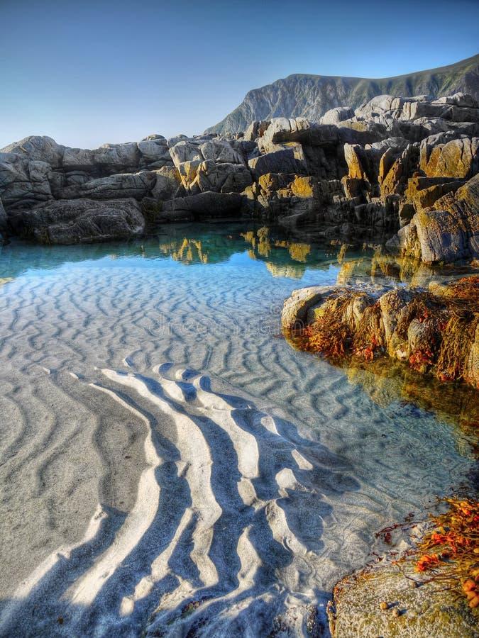 Costa de la belleza, islas de Lofoten, Noruega fotografía de archivo