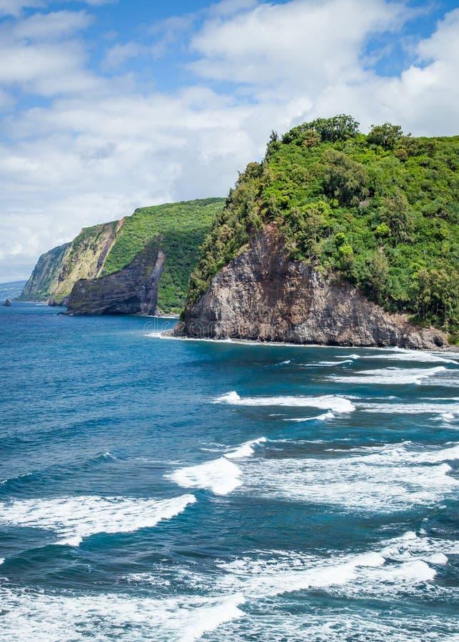 Costa de la costa de Hamakua de Hawaii de la isla grande de Hawaii imagenes de archivo