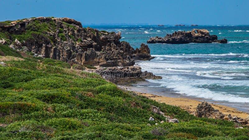 Costa de la piedra caliza en el cabo Peron cerca de Rockingham, Australia occidental, Australia imagen de archivo libre de regalías
