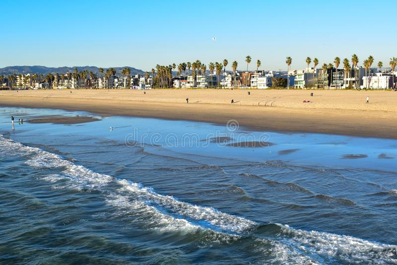 Costa de Los Angeles vista do cais da pesca de Venice Beach imagens de stock royalty free