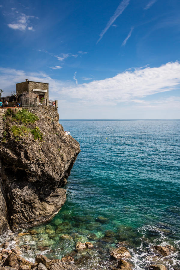 Costa de mar, égua do al de Monterosso, Cinque Terre, Itália fotos de stock