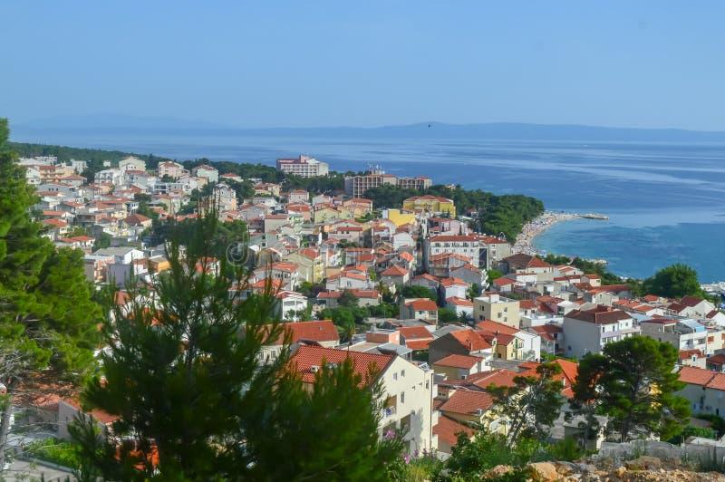 Costa de mar adriática Makarska riviera de Dalmacia imagenes de archivo