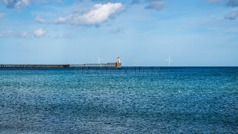 Costa de Mar del Norte en la playa del sur en Blyth, Inglaterra, Reino Unido foto de archivo