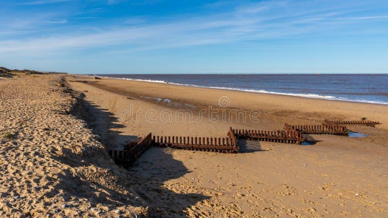 Costa de Mar do Norte no Caister-em-mar, Norfolk, Inglaterra, Reino Unido foto de stock royalty free
