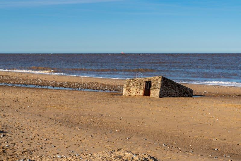 Costa de Mar do Norte no Caister-em-mar, Norfolk, Inglaterra, Reino Unido imagens de stock