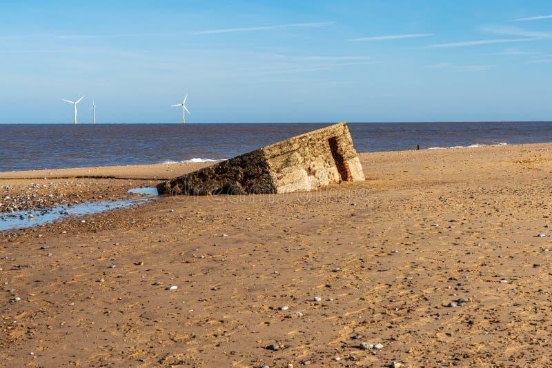 Costa de Mar do Norte no Caister-em-mar, Norfolk, Inglaterra, Reino Unido imagem de stock