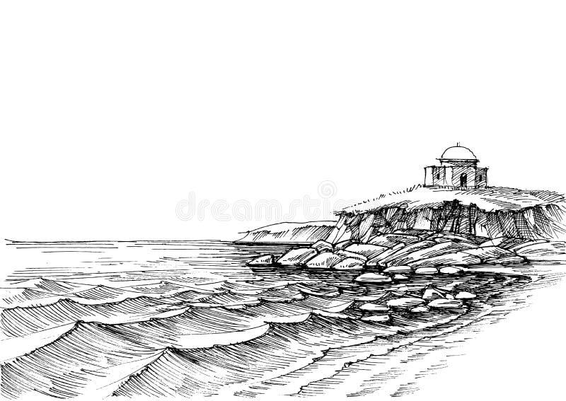 Costa de mar rochosa e praia vazia da areia ilustração stock