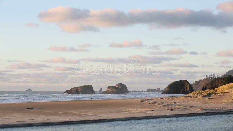 Costa de Oregon, ressaca, areia, luz da rocha de Tillamook video estoque