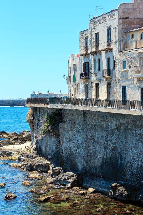 Costa de Ortigia, Siracusa, Sicília, Itália fotografia de stock