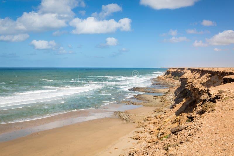 Costa de Rocky Atlantic no sudoeste de Marrocos fotografia de stock royalty free