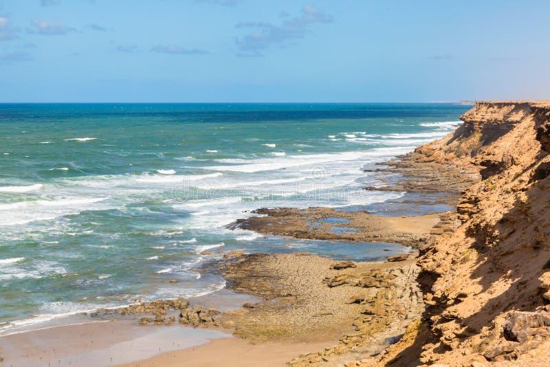 Costa de Rocky Atlantic no sudoeste de Marrocos imagem de stock