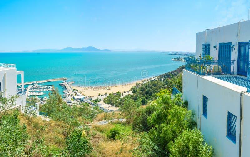 A costa de Sidi Bou Said fotografia de stock