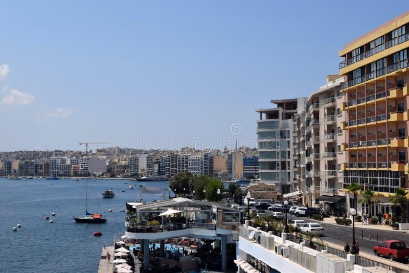 Costa de Sliema, Malta imagenes de archivo