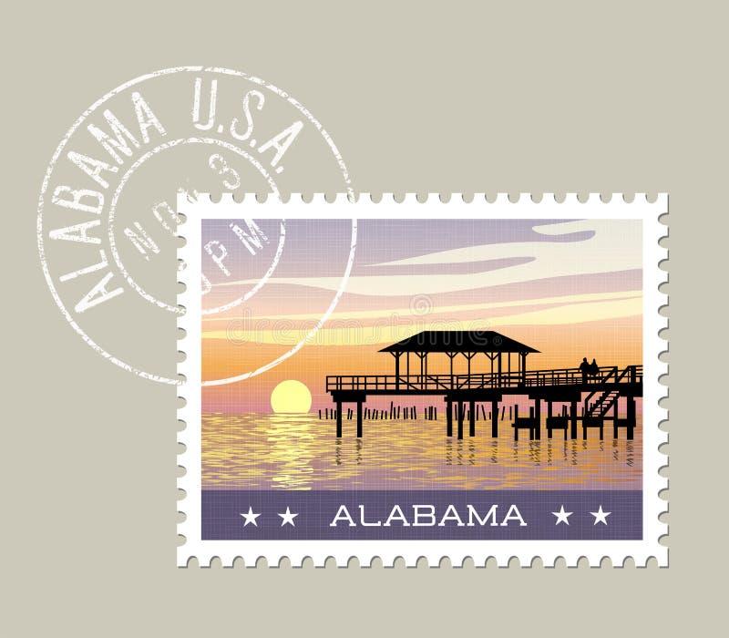 Costa del Golfo de Alabama con el embarcadero de la pesca ilustración del vector
