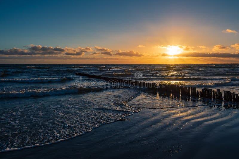 Costa del Mar Baltico sull'isola Moen in Danimarca immagine stock libera da diritti