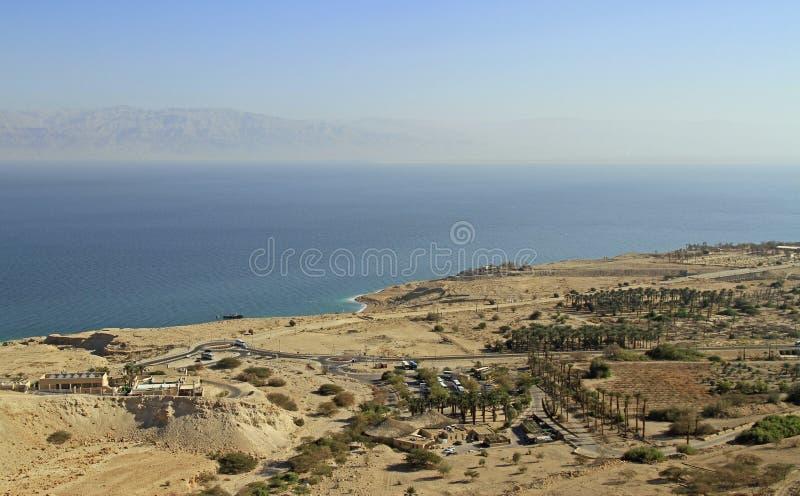 Costa del mar Morto dalla cima della montagna fotografia stock libera da diritti
