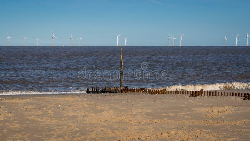 Costa del Mare del Nord in Caister-su-mare, Norfolk, Inghilterra, Regno Unito fotografie stock libere da diritti