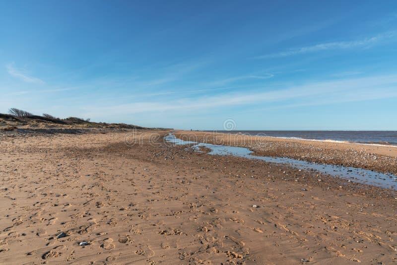 Costa del Mare del Nord in Caister-su-mare, Norfolk, Inghilterra, Regno Unito fotografia stock