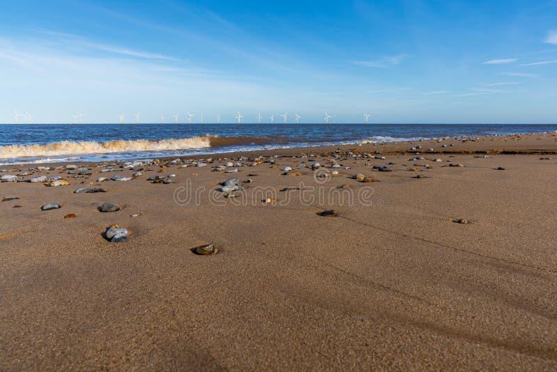 Costa del Mare del Nord in Caister-su-mare, Norfolk, Inghilterra, Regno Unito fotografia stock libera da diritti
