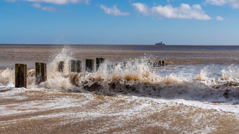 Costa del Mare del Nord in Gorleston-su-mare, Norfolk, Inghilterra, Regno Unito immagini stock