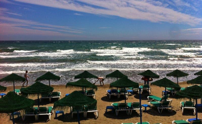 Costa Del Sol Spanien - Nerja strand arkivbilder