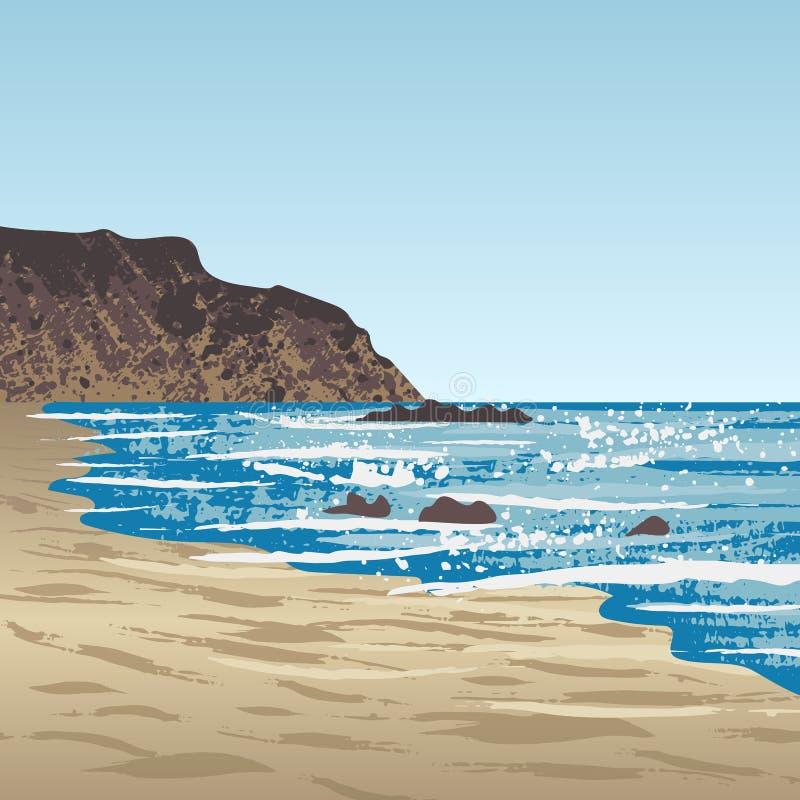 Costa dell'oceano con roccia royalty illustrazione gratis