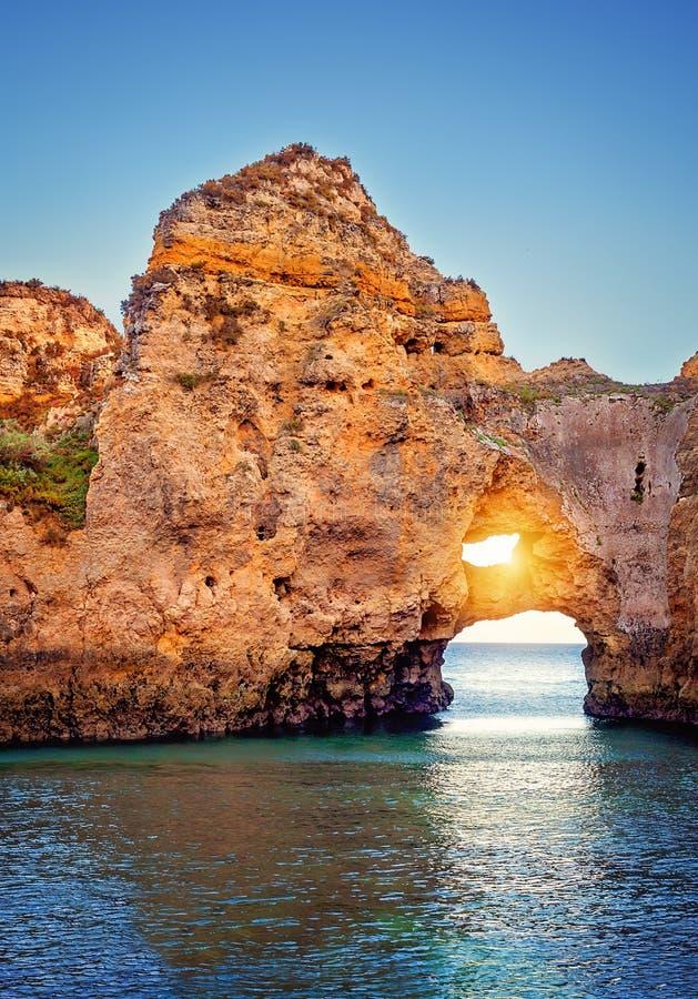 Costa di Algarve a Lagos immagine stock libera da diritti