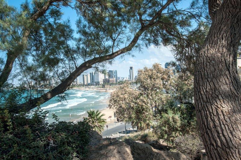 Costa di mare e la vista di Tel Aviv Estate fotografie stock