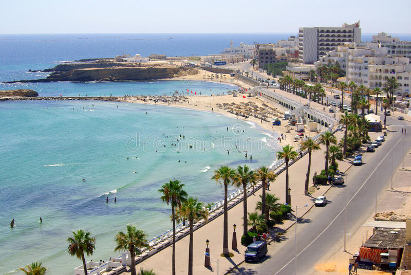 Costa di mare in Monastir, Tunisia in Africa fotografia stock libera da diritti