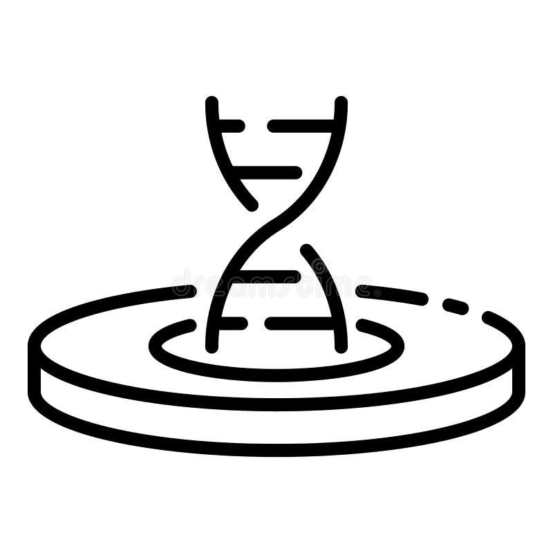 Costa do ADN no ícone do prato de Petri, estilo do esboço ilustração stock