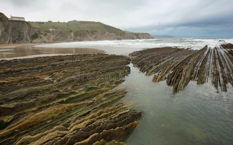 Costa do Flysch em Zumaia, país Basque, Espanha imagens de stock royalty free