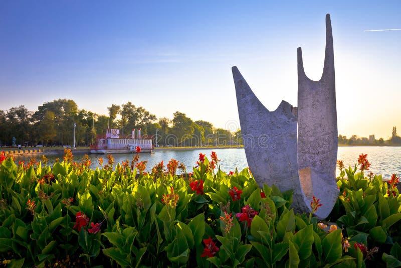 Costa do lago Palic no alvorecer perto da cidade da opinião de Subotica foto de stock royalty free